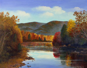 Blue Ridge Mountain Parkway and Northern river scenes in Plein Air Landscape Paintings